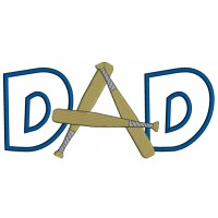 Baseball Dad Applique Machine Embroidery Design Digitized Pattern