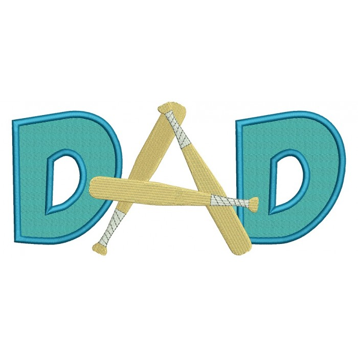 Baseball Dad Filled Machine Embroidery Design Digitized Pattern