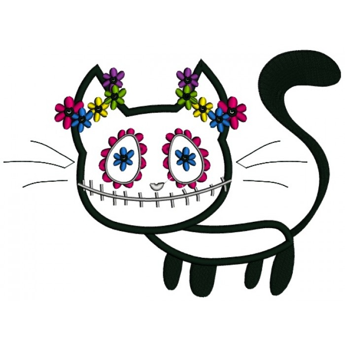 Black Cat Day Of The Dead Dia De Los Muertos Applique Machine