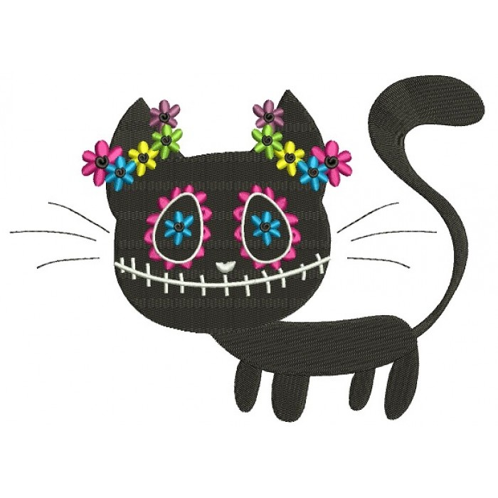 Black Cat Day of the Dead Dia de los Muertos Filled Machine Embroidery Design Digitized Pattern