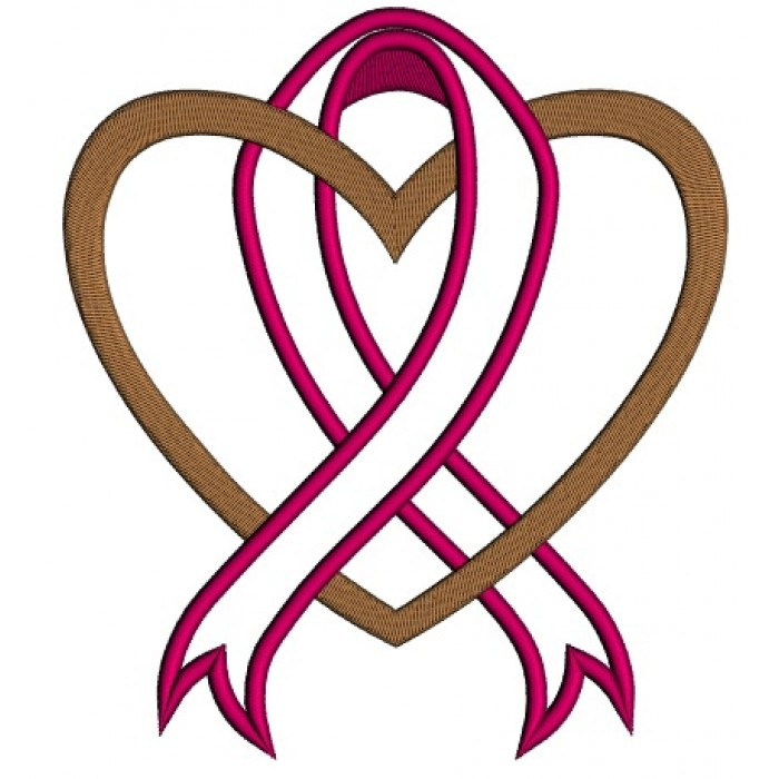 Cancer Awareness Ribbon With Heart Applique Machine Embroidery
