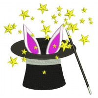 Bunny In The Hat Magic Wand Circus Filled Machine Embroidery Design Digitized Pattern