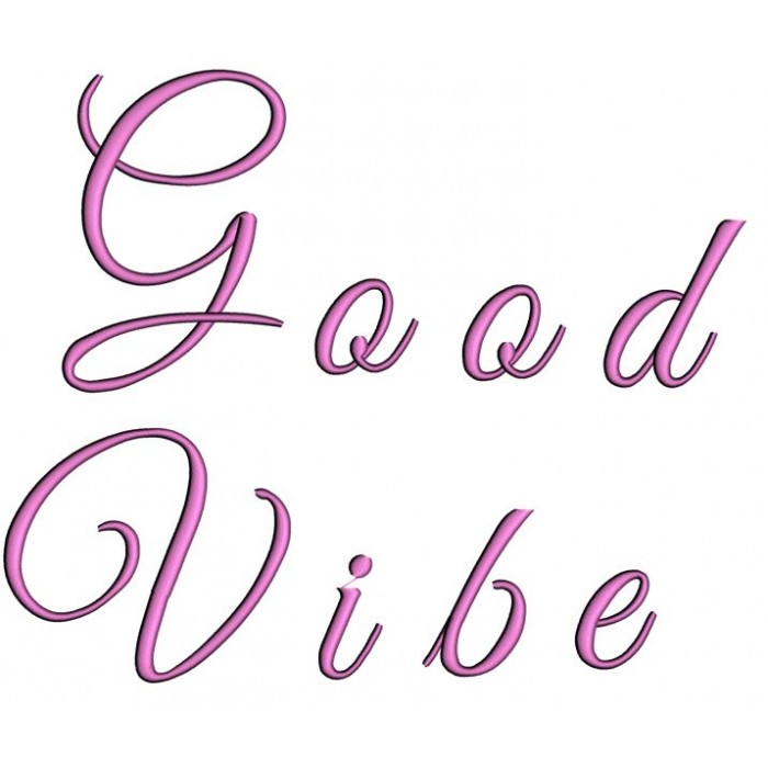 Cool Vibes Satin Script Machine Embroidery Font Upper And Lower Case 1 2 3 Inches