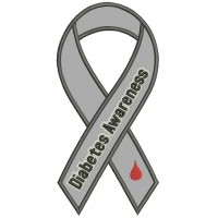 Diabetes Awareness Ribbon Applique Machine Embroidery Design Digitized Pattern