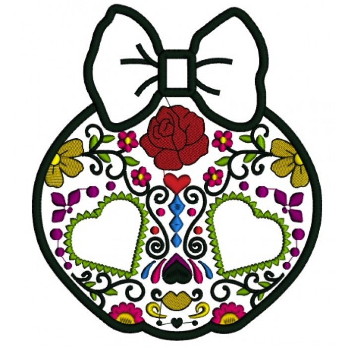 Sugar Skull Day Of The Dead Dia De Los Muertos Applique Machine Embroidery Design Digitized Patterna 700x700g