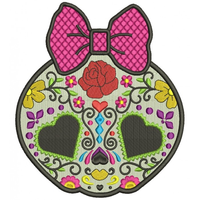 Sugar Skull Day Of The Dead Dia De Los Muertos Filled Machine Embroidery Design Digitized Pattern 700x700g