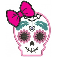 Sugar Skull With a Spider Day of the Dead Dia de los Muertos Applique Machine Embroidery Design Digitized Pattern