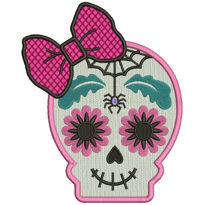 Sugar Skull With A Spider Day Of The Dead Dia De Los Muertos Filled Machine Embroidery Design Digitized Pattern 700x700g