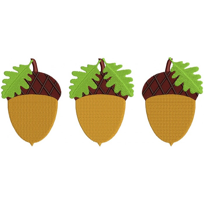 Three Acorn Fall Filled Machine Embroidery Design Digitized Pattern
