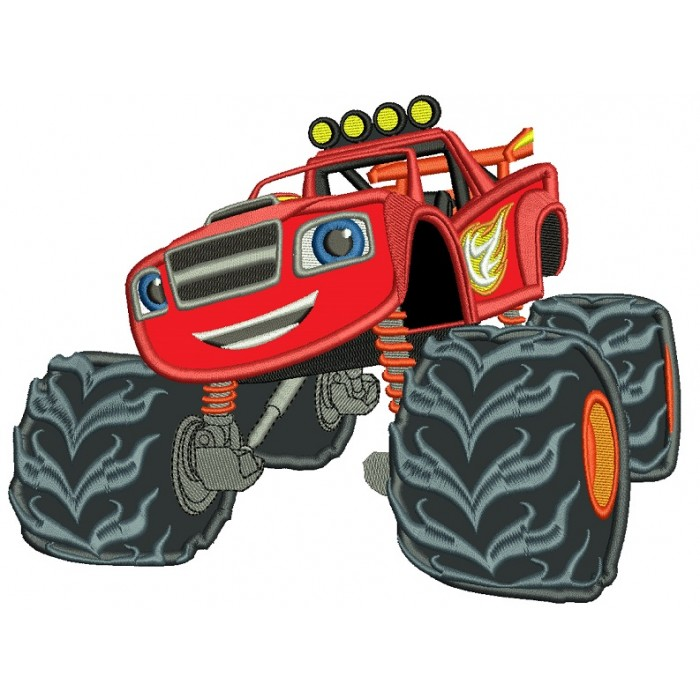Looks Like Blaze Monster Truck Applique Machine Embroidery