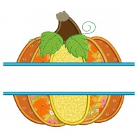Split Pumpkin Halloween or Thanksgiving Applique Machine Embroidery Design Digitized Pattern
