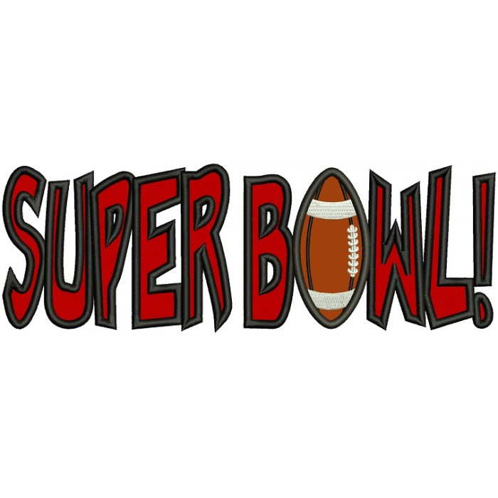 Super Bowl Football Sports Applique Machine Embroidery Design Digitized Pattern