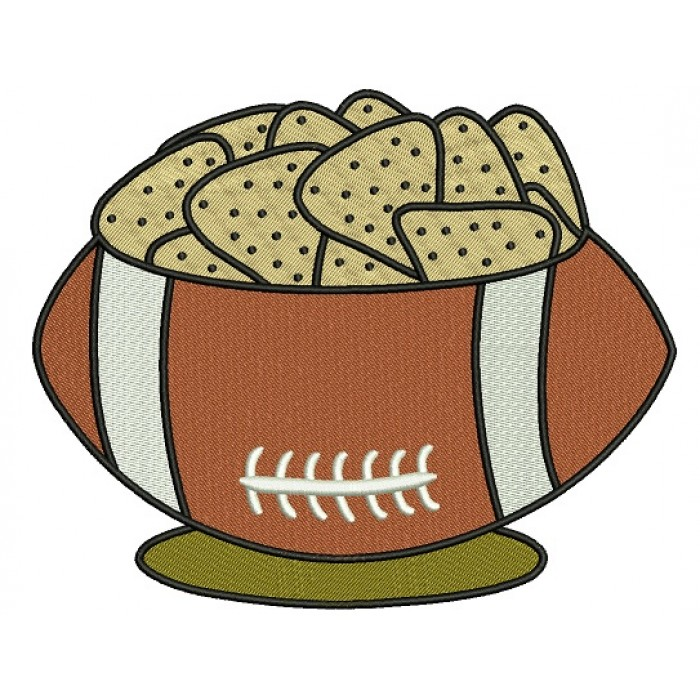 Chips and Football Sports Filled Machine Embroidery Design Digitized Pattern