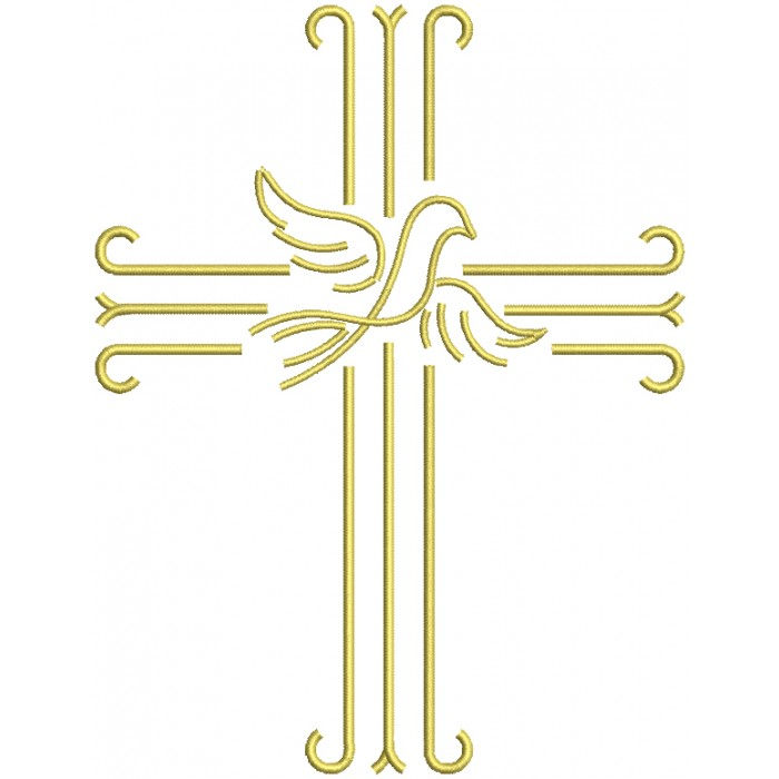 Cross With a Dove Religious Filled Machine Embroidery Design Digitized Pattern