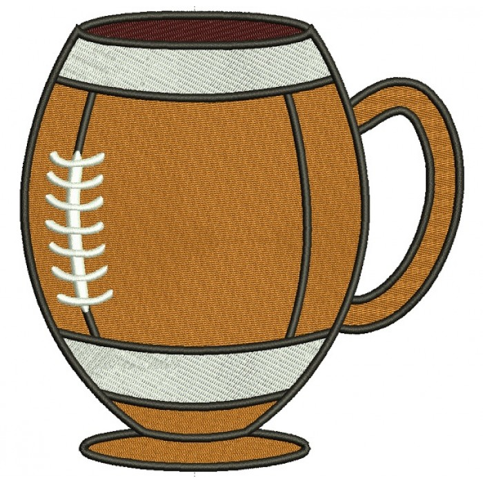Football Beer Mug Filled Machine Embroidery Design Digitized Pattern