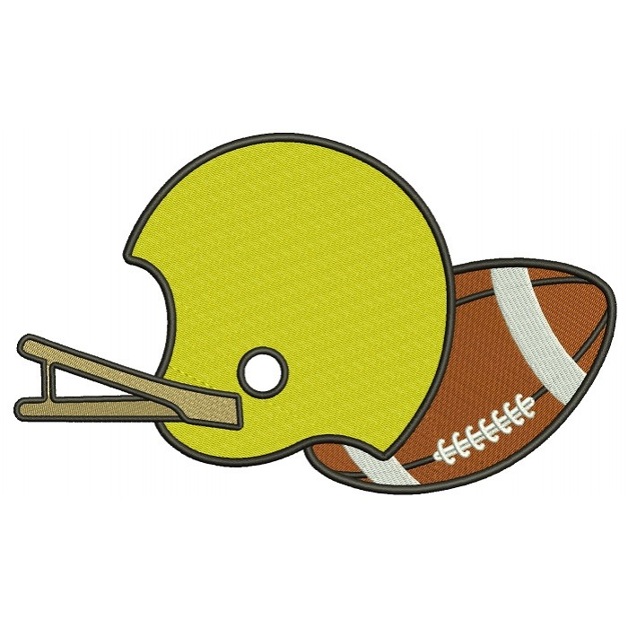 Football Helmet With a Ball Sports Filled Machine Embroidery Design Digitized Pattern