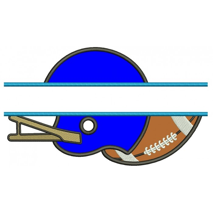 Football Helmet With a Ball Sports Split Applique Machine Embroidery Design Digitized Pattern