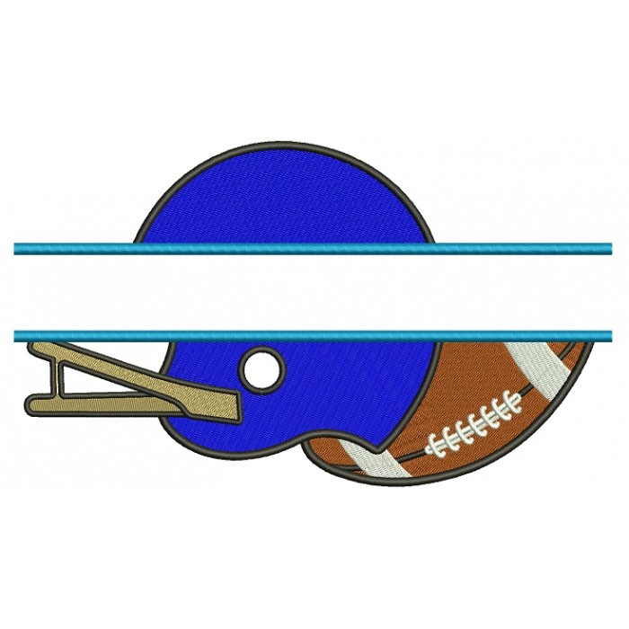 Football Helmet With a Ball Sports Split Filled Machine Embroidery Design Digitized Pattern