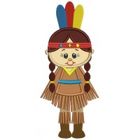 Little Girl Indian Applique Machine Embroidery Design Digitized Pattern