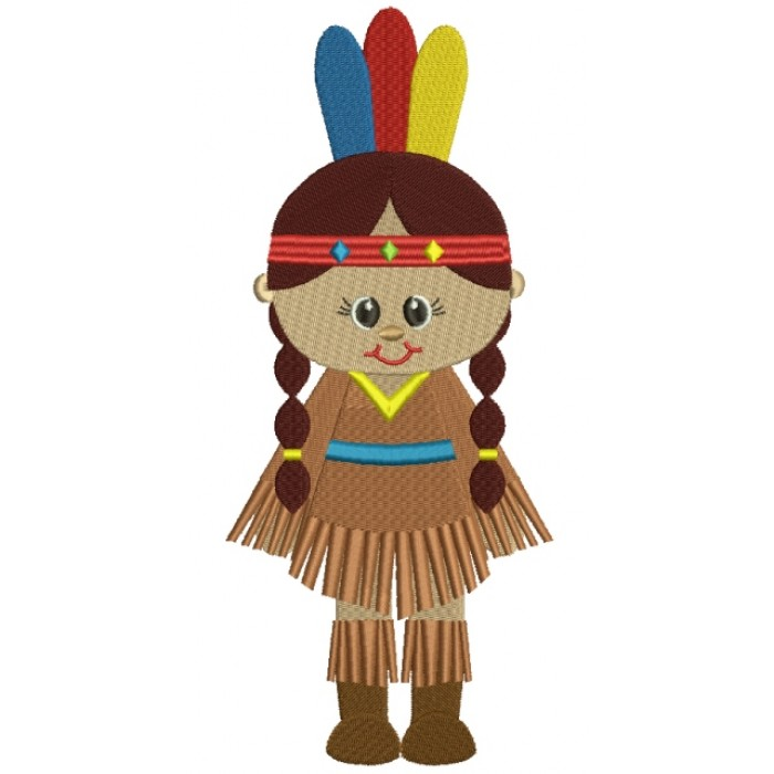Little Girl Indian Filled Machine Embroidery Design Digitized Pattern