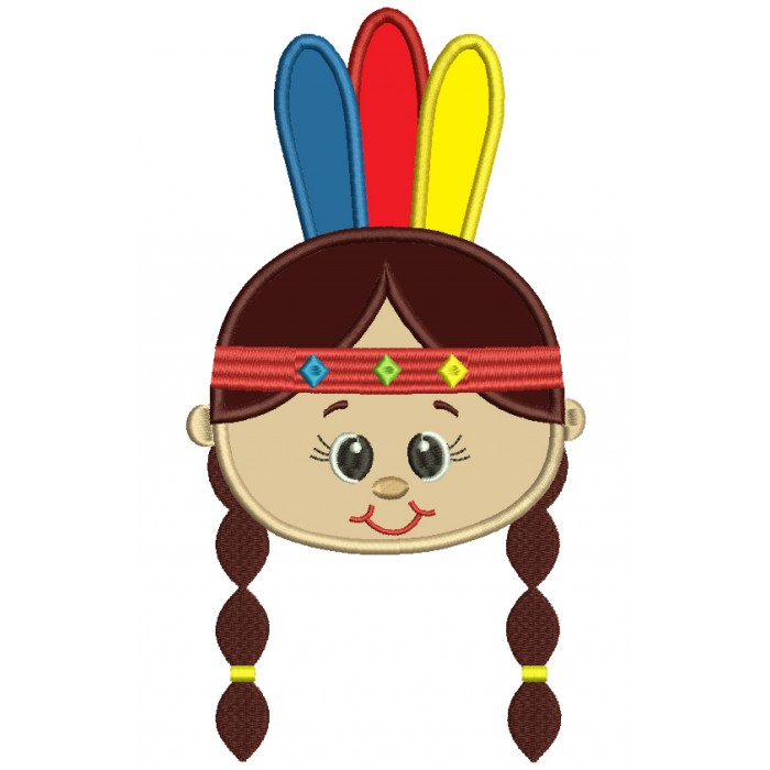 Little Girl Indian Head Applique Machine Embroidery Design Digitized Pattern