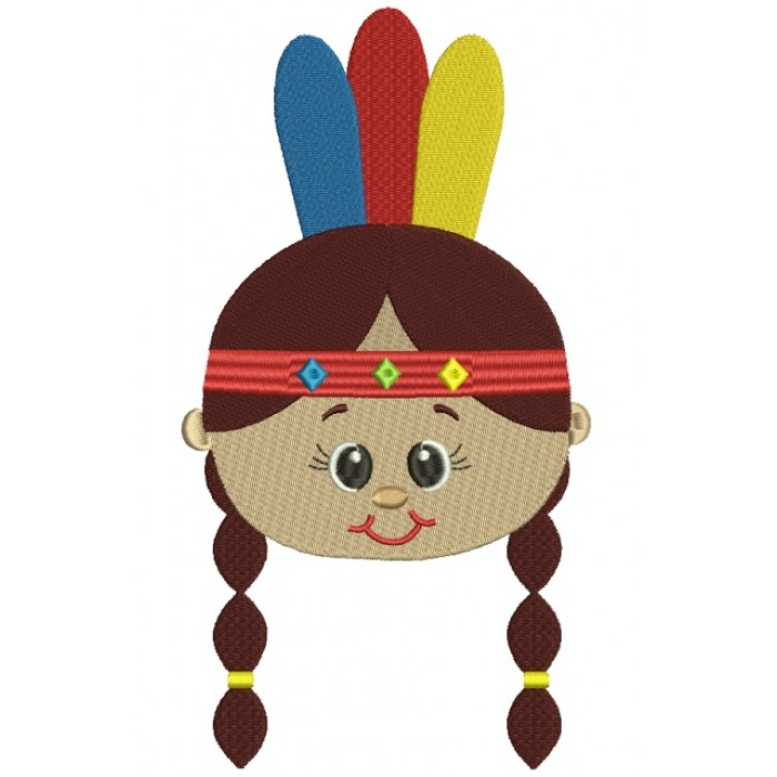 Little Girl Indian Head Filled Machine Embroidery Design Digitized Pattern