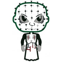 Looks Like Pinhead Horror Halloween Applique Machine Embroidery Design Digitized Pattern