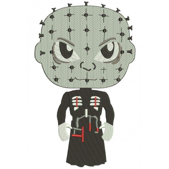 Looks Like Pinhead Horror Halloween Filled Machine Embroidery Design Digitized Pattern