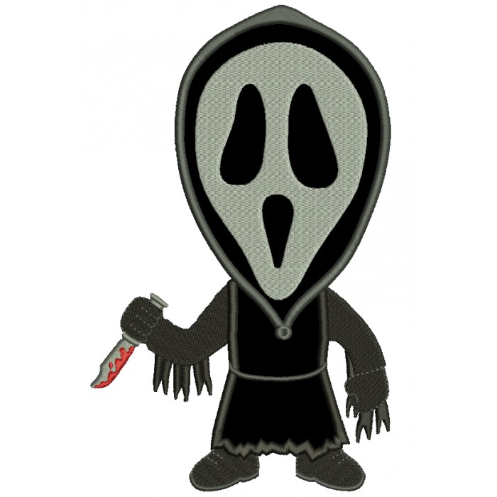 Looks like a character from Scream Halloween Applique Machine Embroidery Design Digitized Pattern