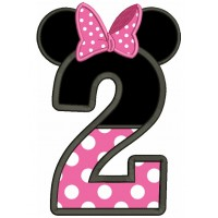 Number 2 Birthday Looks Like Minnie Ears Applique Machine Embroidery Design Digitized Pattern