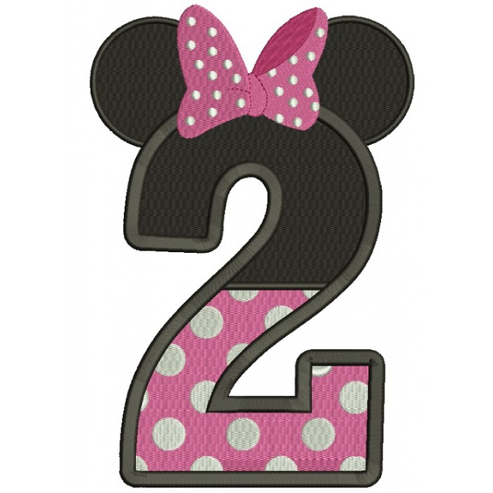 Number 2 Birthday Looks Like Minnie Ears Filled Machine Embroidery Design Digitized Pattern
