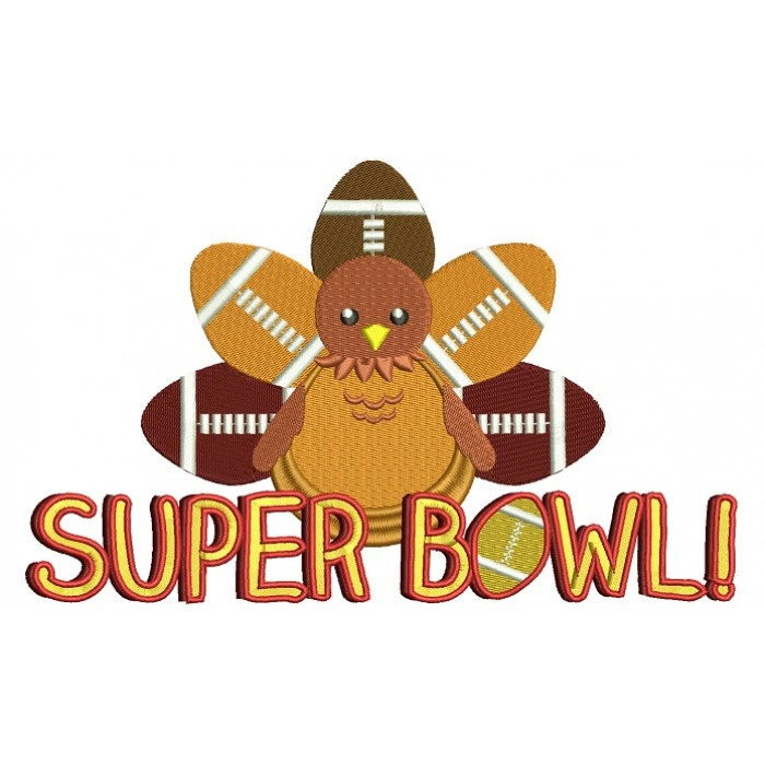 Super Bowl Turkey Filled Machine Embroidery Design Digitized Pattern