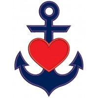 Anchor With Heart Marine Applique Machine Embroidery Design Digitized Pattern