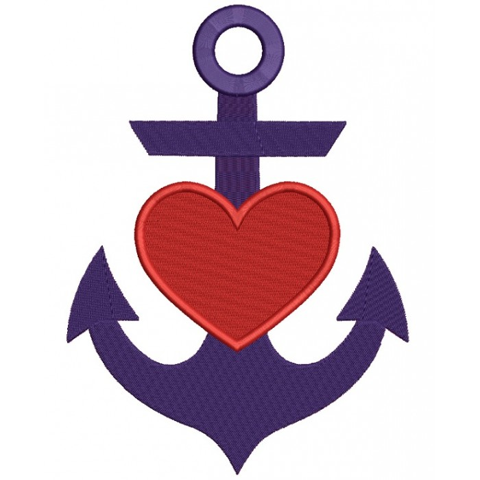 Anchor With Heart Marine Filled Machine Embroidery Design Digitized Pattern