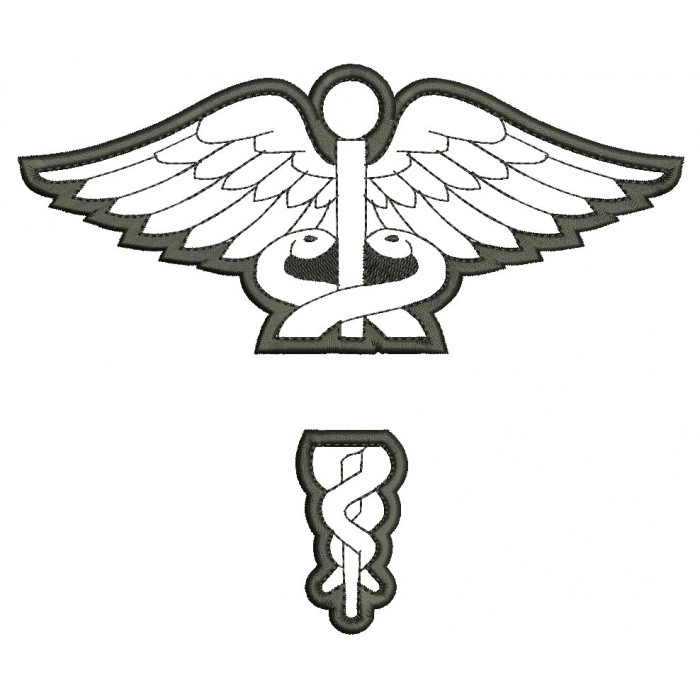 Caduceus Medical Split Applique Nurse Doctor LPN Machine Embroidery Design Digitized Pattern