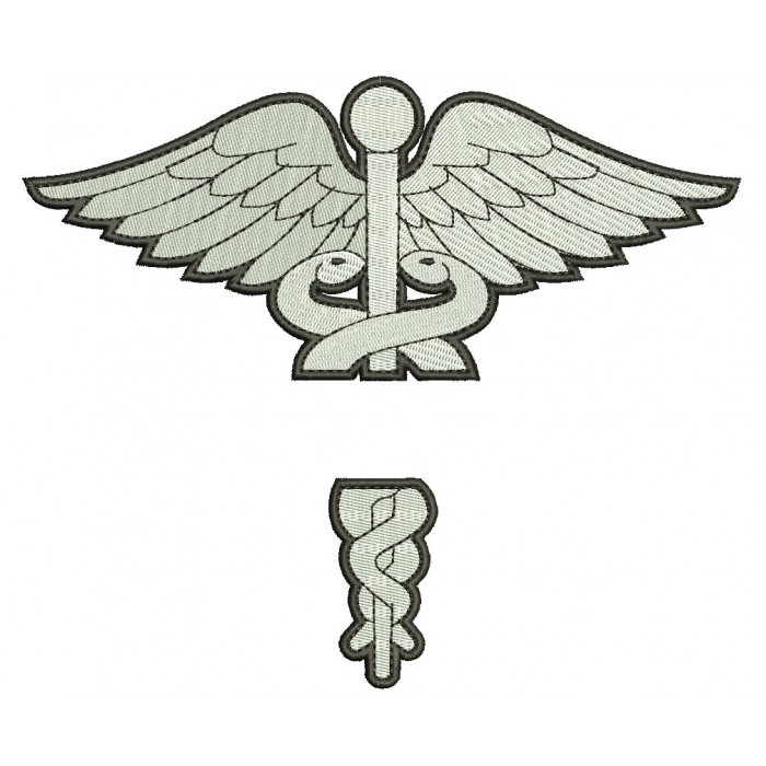 Caduceus Medical Split Filled Nurse Doctor LPN Machine Embroidery Design Digitized Pattern