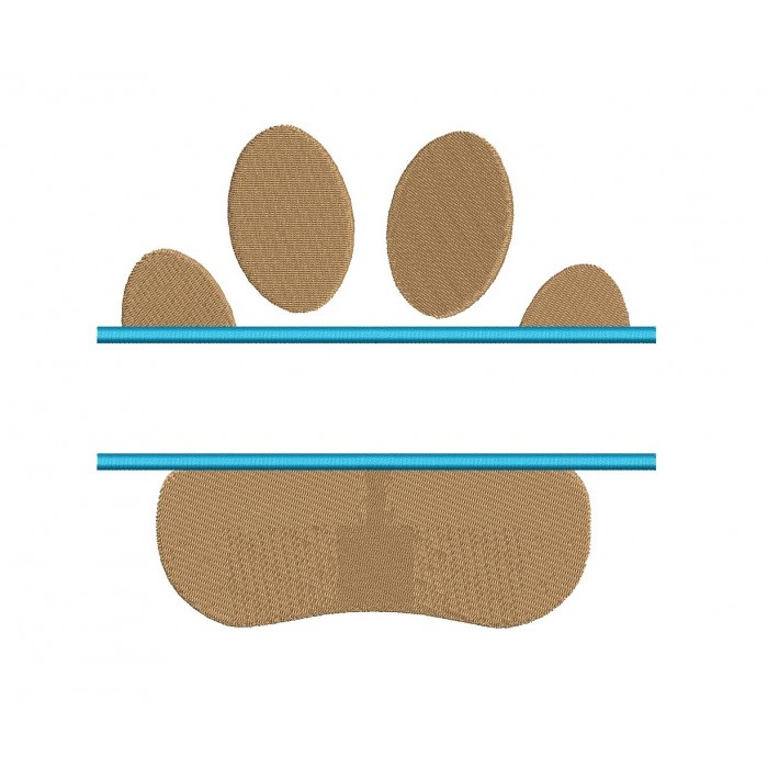 Dog Paw Split Filled Machine Embroidery Design Digitized Pattern