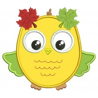 Fall Owl Applique Machine Embroidery Design Digitized Pattern