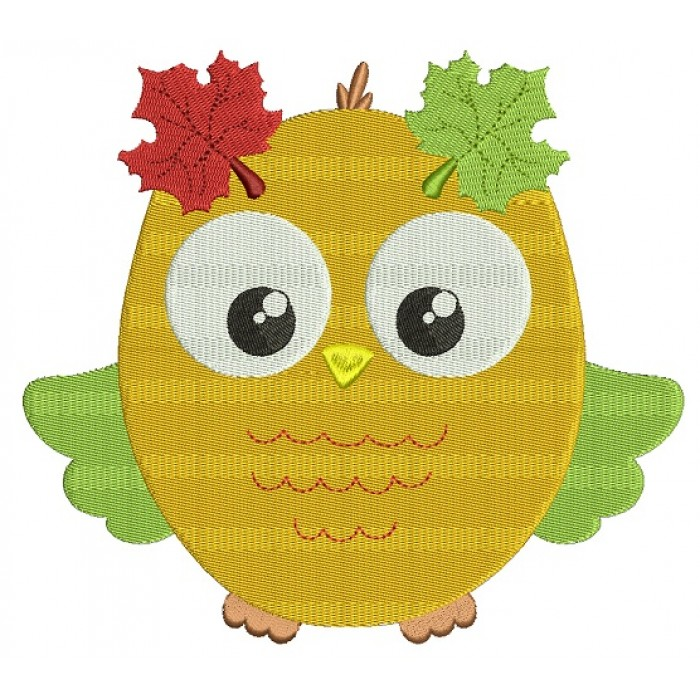 Fall Owl Filled Machine Embroidery Design Digitized Pattern