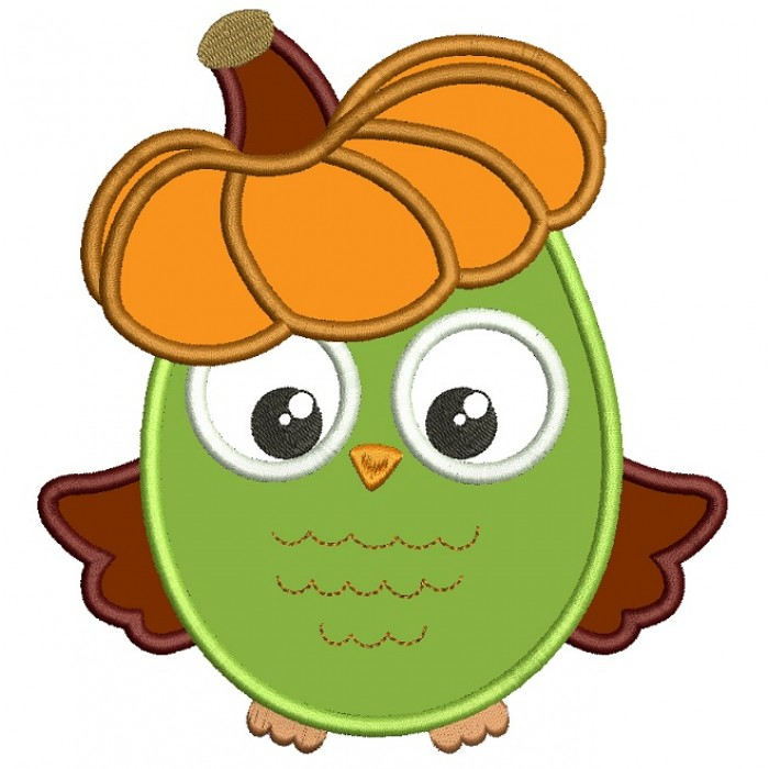 Fall Owl With Pumpkin On His Head Applique Machine Embroidery Design Digitized Pattern