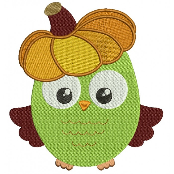 Fall Owl With Pumpkin On His Head Filled Machine Embroidery Design Digitized Pattern