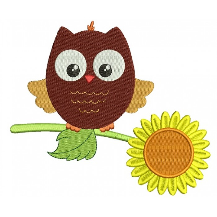 Owl Sitting On Sunflower Filled Machine Embroidery Design Digitized Pattern