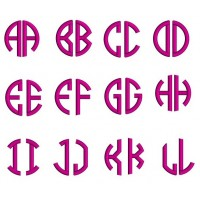 2 Letter Satin Circle Monogram Machine Embroidery Small Satin Font