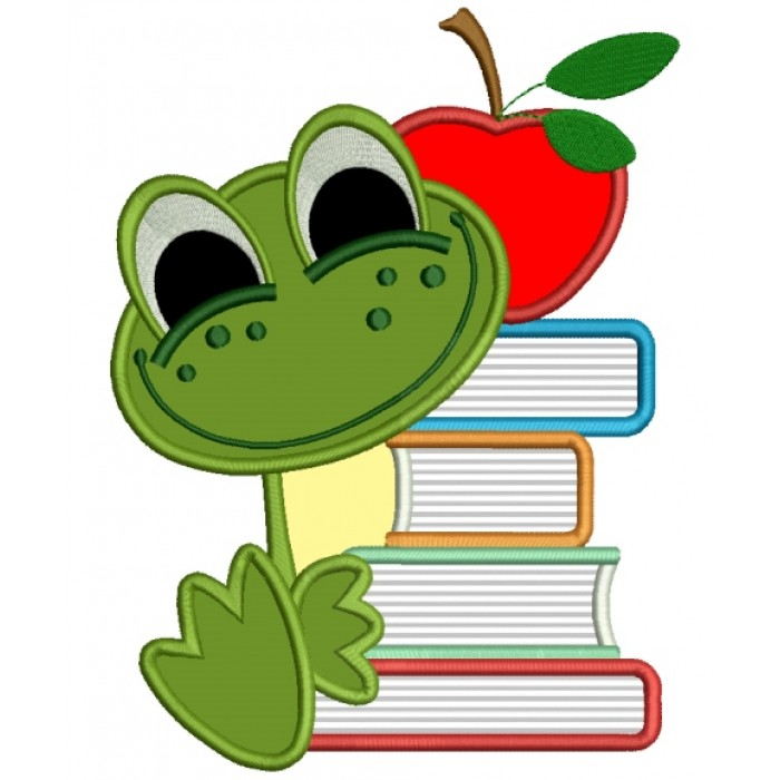 Baby Frog With Books School Applique Machine Embroidery Design Digitized Pattern