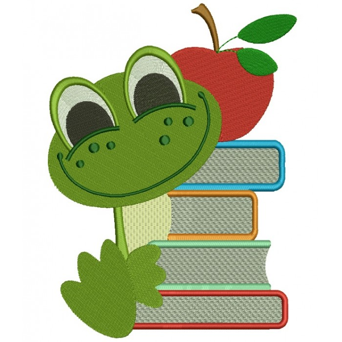 Baby Frog With Books School Filled Machine Embroidery Design Digitized Pattern