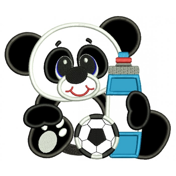 Baby Panda With Soccer Ball Applique Machine Embroidery Design Digitized Pattern