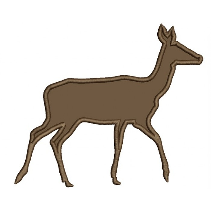Doe Hunting In The Woods Applique Machine Embroidery Design Digitized Pattern