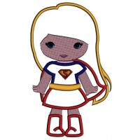 Looks Like Super Girl Hero Superman Hands Out Applique Machine Embroidery Design Digitized Pattern