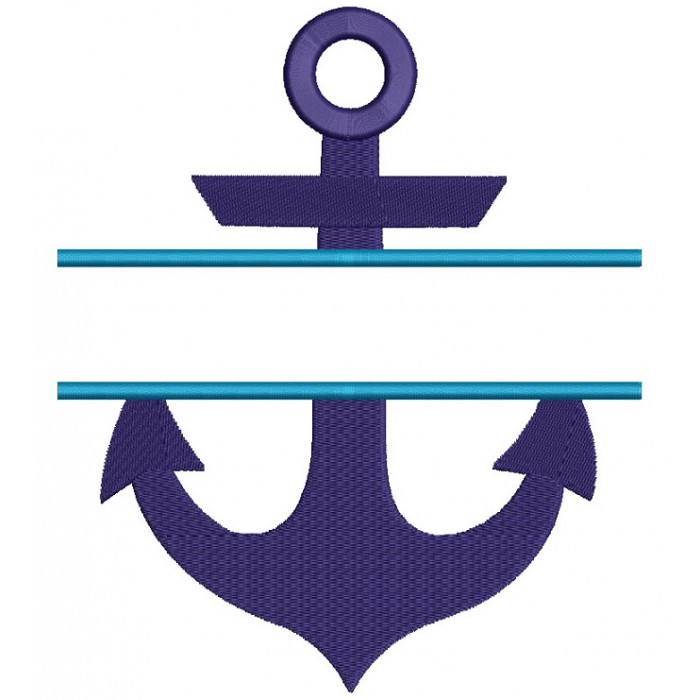 Anchor Split Marine Filled Machine Embroidery Digitized Design Pattern