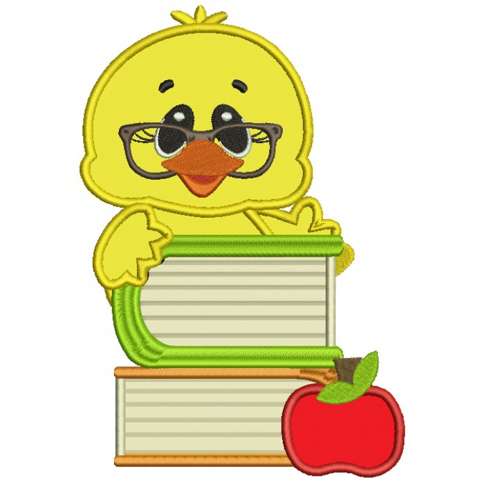 Baby Student Chick With Books School Applique Machine